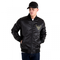 Casaco New Era Chicago Bulls Black and Gold Sateen Bomber