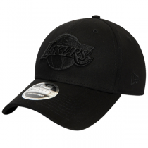 New Era Los Angeles Lakers Black on Black 9FORTY Stretch Snap Cap