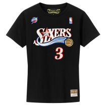 M&N NBA Philadelphia 76ers Name & Number Hardwood Classics Edition Tee | Allen Iverson