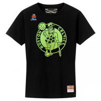 Mitchell and Ness NBA Neon Logo Black Tee   Boston Celtics