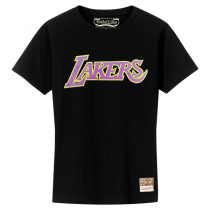 Mitchell and Ness NBA Neon Logo Black Tee   LA Lakers