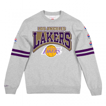 Mitchell and Ness All Over Print Fleece Crew Sweater | Los Angeles Lakers