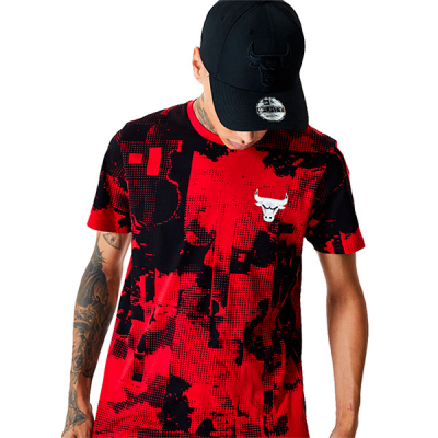 New Era Chicago Bulls NBA All Over Error Print T-Shirt
