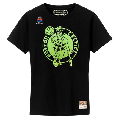 Mitchell and Ness NBA Neon Logo Black Tee | Boston Celtics