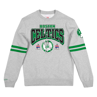 Mitchell and Ness All Over Print Fleece Crew Sweater | Boston Celtics