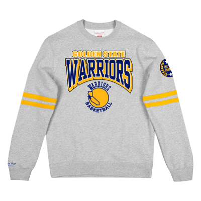 Mitchell and Ness All Over Print Fleece Crew Sweater | Golden State Warriors