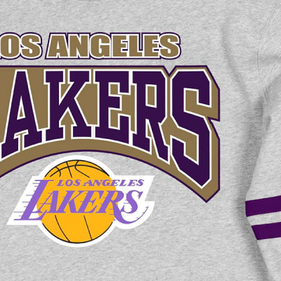 Mitchell and Ness All Over Print Fleece Crew Sweater   Los Angeles Lakers