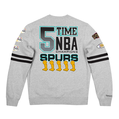 Mitchell and Ness All Over Print Fleece Crew Sweater   San Antonio Spurs