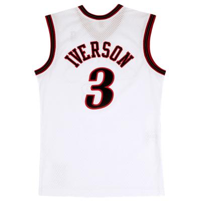 Mitchell and Ness NBA Allen Iverson Swingman Home White Jersey   Philadelphia 76ers 2000-01